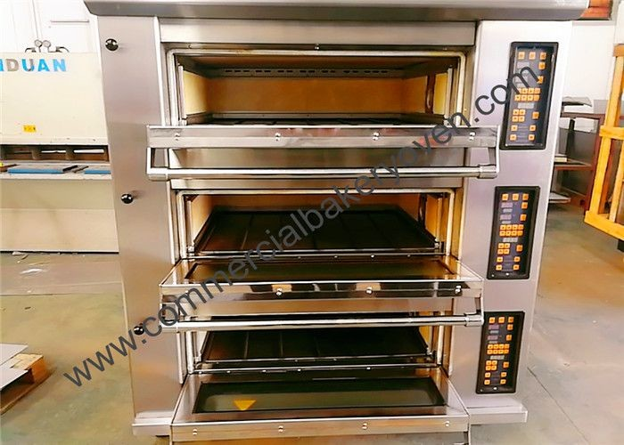 8 Trays Bakery Deck Oven Digital Display Ceramic Heating For Bread 1300 Kg