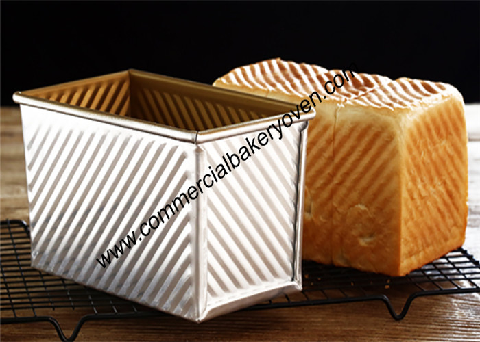 Large Capacity Bread Making Molds , Gold Loaf Bread Box With Cover